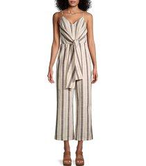 lea & viola women's striped tie-front jumpsuit - size m
