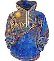 maya totem printed kangaroo pocket hoodie