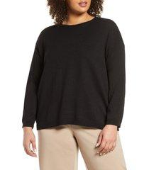 plus size women's eileen fisher linen & cotton crewneck sweater