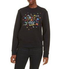 women's saint laurent love 1983 embroidered sweatshirt