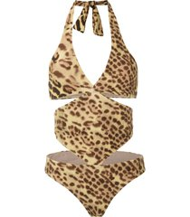 adriana degreas cut out leopard print swimsuit - multicolour