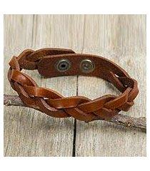 men's braided leather bracelet, 'caramel rope' (thailand)