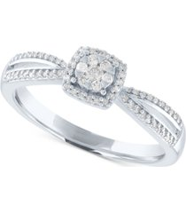 diamond cluster promise ring (1/6 ct. t.w.) in sterling silver