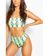 snake bandeau high waist bikini, green
