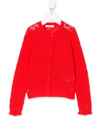 billieblush open-knit heart motif cardigan - red