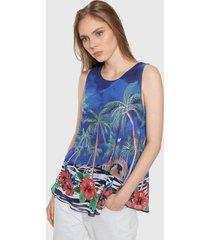 blusa azul-multicolor desigual