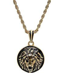 18k goldplated & black ip stainless steel lion head mount pendant necklace