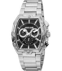 roberto cavalli by franck muller men's swiss quartz silver-tone stainless steel bracelet watch 40mm