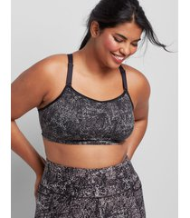 lane bryant women's livi low-impact no-wire sport bra with wicking - strappy back 14/16 paint daubs