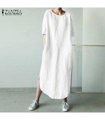 zanzea para mujer cuello redondo de algodón camisa de la playa de split de vestir de las señoras vestidos largos maxi -blanquecino