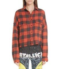 women's r13 crop work shirt, size medium - red