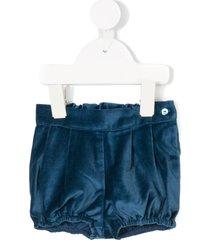knot velvet shorts - blue