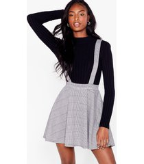 womens since i houndstooth you overall mini skirt - grey