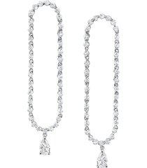 18k white gold hudson pear diamond drop earrings
