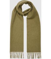 reiss ashton - lambswool cashmere blend scarf in khaki, mens