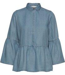 nuahna blouse långärmad skjorta blå nümph