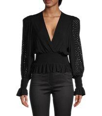 iro women's sequin-sleeve top - black - size 34 (2)