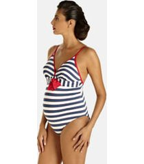 women's pez d'or palm springs one-piece maternity swimsuit, size medium - blue