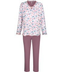 pyjama comtessa rozenhout/wit/jeansblauw