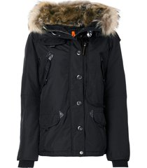 parajumpers faux fur trim hooded coat - black