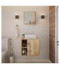 conjunto para banheiro gabinete com cuba q32 e espelheira soft 500 carvalho