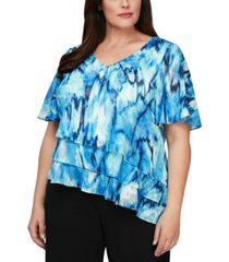 alex evenings plus size printed tiered-hem blouse