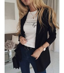 botón diseño blazer de manga larga con cuello solapa