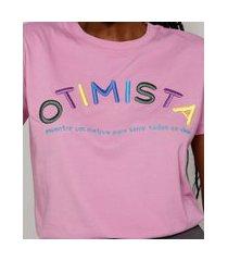 "t-shirt feminina mindset com bordado otimista"" manga curta decote redondo rosa"""