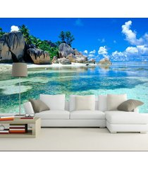 3d tropical beach island ocean wallpaper for walls ocean wall mural wall art