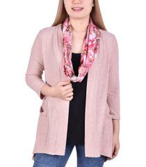 women's cardigan with inset and detachable printed scarf