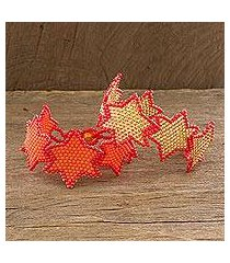 beaded wristband bracelets, 'star duo in orange' (pair) (guatemala)