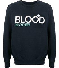 blood brother moletom decote careca com estampa gráfica - azul