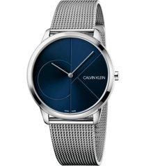 calvin klein unisex minimal stainless steel mesh bracelet watch 40mm