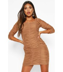 all over mesh ruched mini dress, camel
