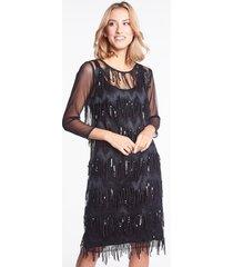 czarna sukienka z frędzlami i cekinami