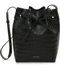 mansur gavriel mini croc embossed leather bucket bag - black