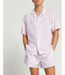 river island mens purple slim fit shirt and swim short set