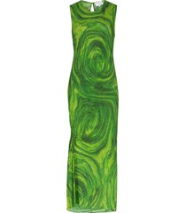 collina strada ruched swirl-print midi dress - green