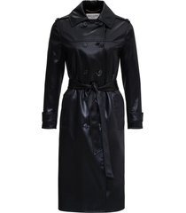 double-breasted trench coat in cotton satin and acetate