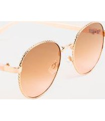 kay twisted frame round sunglasses in rose gold - rose/gold