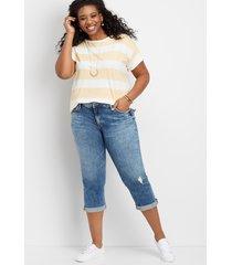 plus size jeans silver jeans co.® womens elyse marble wash capri blue denim - maurices