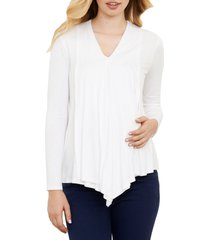 maternal america draped nursing top, size small in ivory at nordstrom