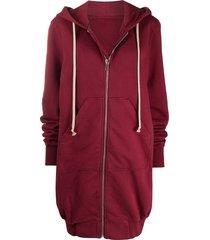 rick owens drkshdw longline zip up hoodie - red
