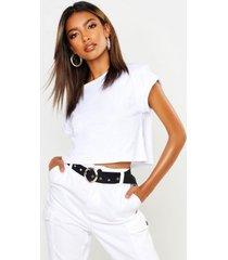 basic roll sleeve crop t-shirt, white