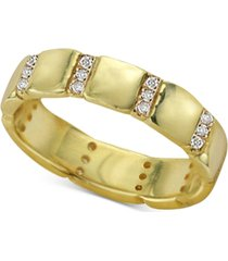 argento vivo cubic zirconia stack ring in 18k gold-plated sterling silver
