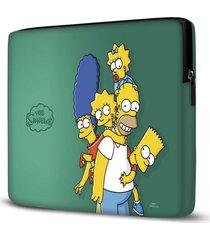 capa para notebook simpsons verde 15.6 a 17 polegadas - verde - dafiti