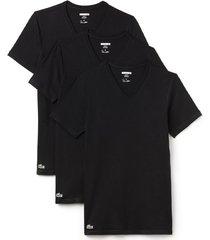 lacoste 3-pack t-shirts v-hals - zwart