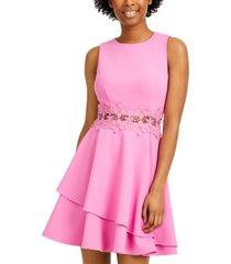 b darlin juniors' peekaboo lace-trim dress