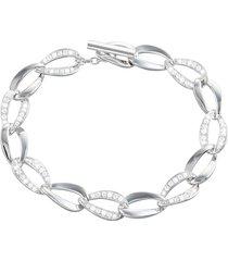 bracciale in argento 925 rodiato e zirconi per donna