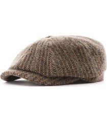 stetson hats hatteras herringbone wool flat cap   multi   6840510-367